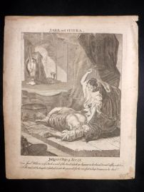 Butley 1762 Antique Religious Print. Jael and Sisera